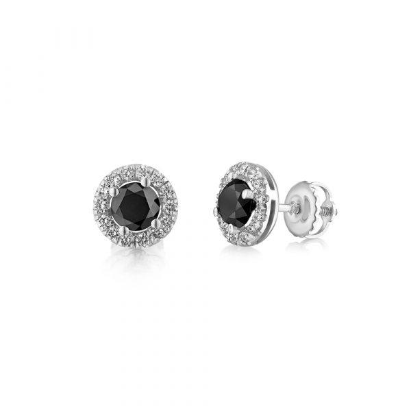 עגילי יהלומים שחורים