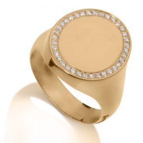טבעת חותם יהלומים AJR506