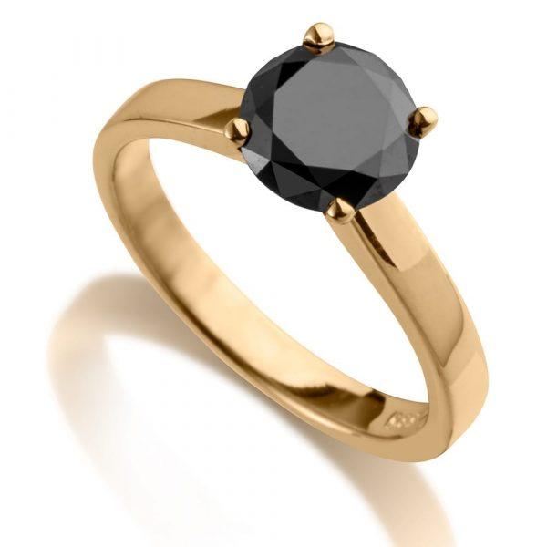 טבעת יהלום שחור 1.50 קראט