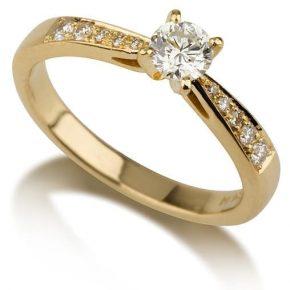 טבעת אירוסין זהב צהוב יהלום מרכזי