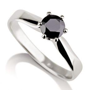 טבעת אירוסין סוליטר יהלום שחור
