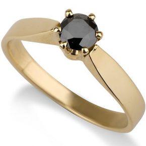 טבעת יהלום שחור זהב