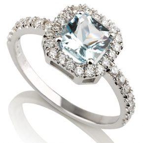 טבעת אקווה-מרין יהלומים