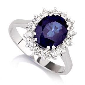 טבעת ספיר יהלומים