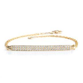צמיד יהלומים זהב לבן משובץ יהלום