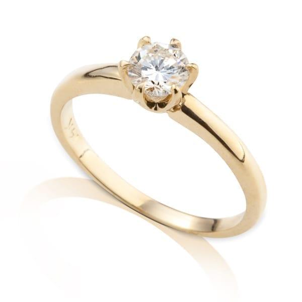 טבעת אירוסין זהב צהוב יהלום בודד