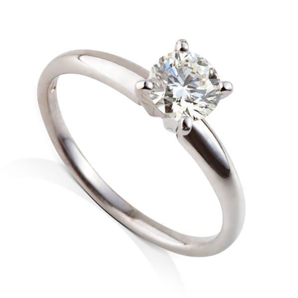טבעת אירוסין סוליטר זהב לבן