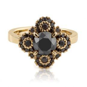 טבעת פרח יהלומים שחורים 2 קראט