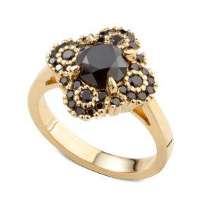 טבעת יהלומים שחורים בזהב צהוב
