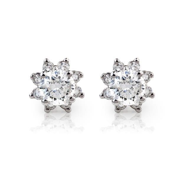 עגילי יהלומים בעיצוב פרח