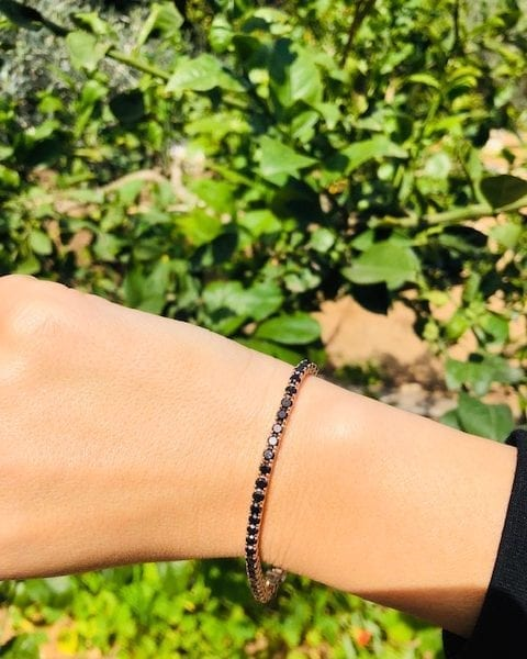 צמיד טניס יהלומים שחורים AJR5117