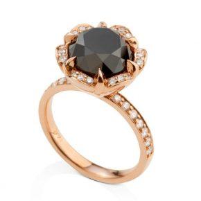 טבעת יהלום שחור זהב אדום