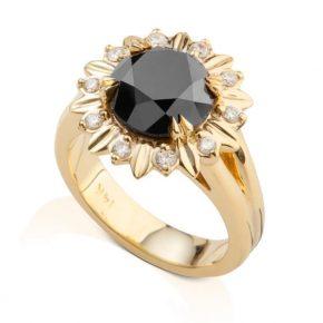טבעת יהלומים שחורים ולבנים AJR5104