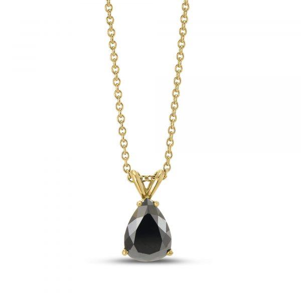 תליון יהלום טיפה שחור זהב לבן