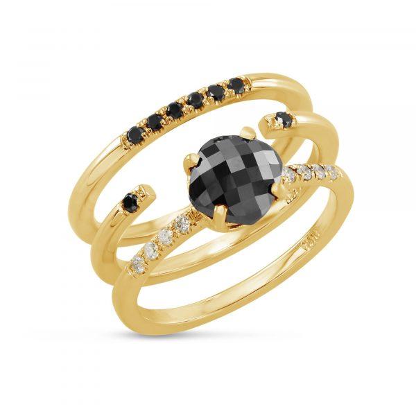 טריו יהלומים שחורים AJR5137