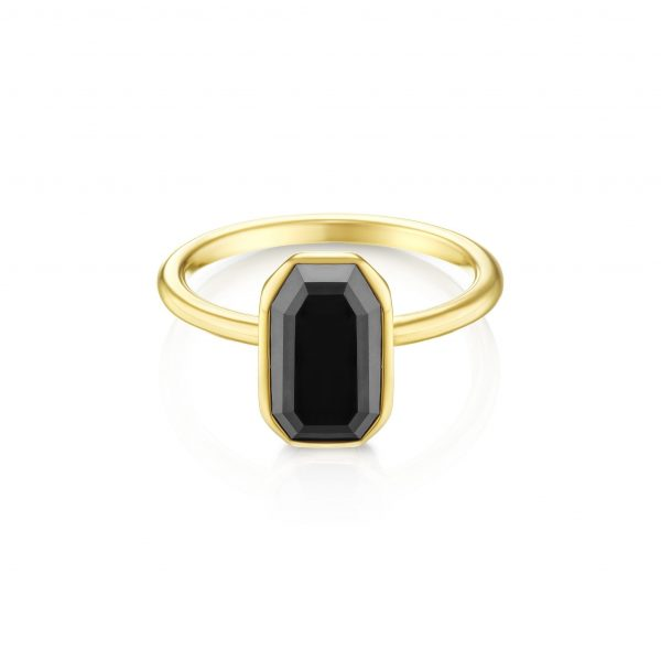 טבעת יהלום שחור אמרלד