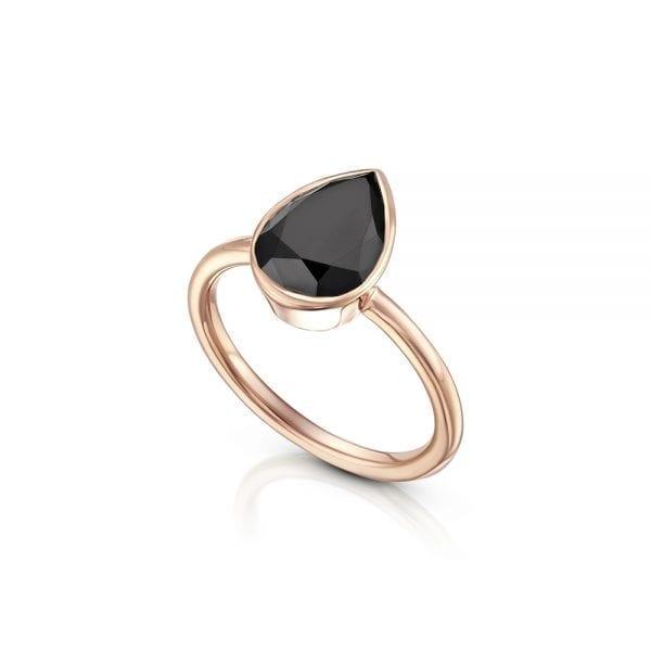 טבעת יהלום שחור בליטוש טיפה