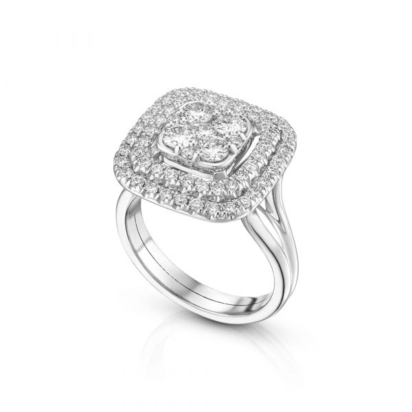 טבעת יהלומים קושן