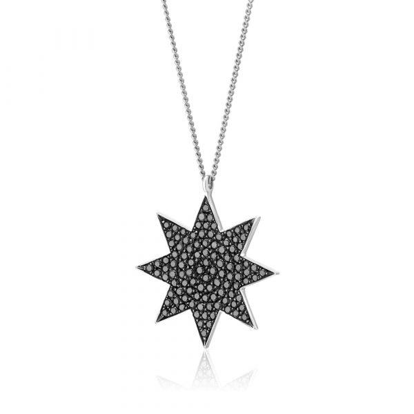 תליון יהלום שחור כוכב