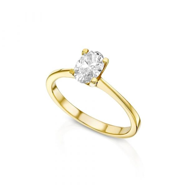 טבעת אירוסין זהב צהוב אובל