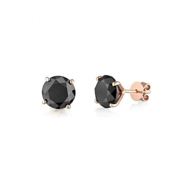 עגילי סטאד יהלומים שחורים