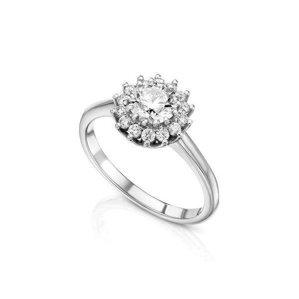 טבעת יהלומים פרח