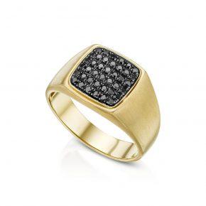 טבעת גבר יהלומים שחורים AJ5242