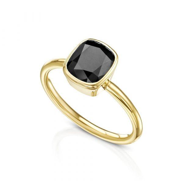 טבעת קושן יהלום שחור AJ5270
