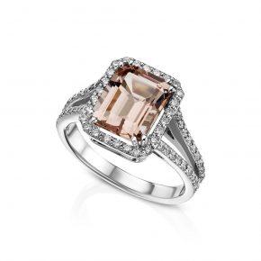 טבעת מורגנייט יהלומים