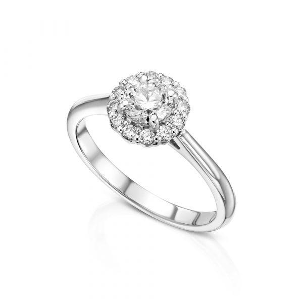 טבעת אירוסין זהב לבן יהלום מרכזי