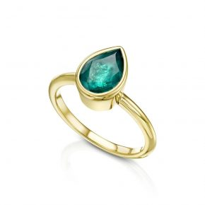 טבעת אמרלד ירוק טבעי