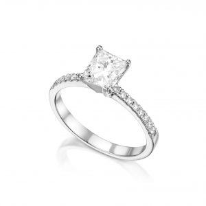 טבעת יהלום פרינסס 1 קראט