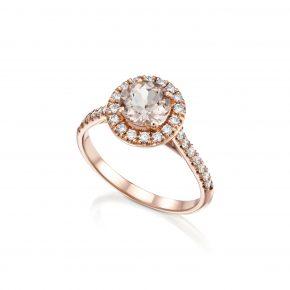 טבעת מורגנייט בזהב אדום