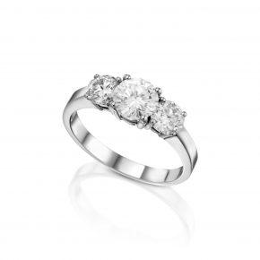 טבעת שלישיית יהלומים דגם 5357