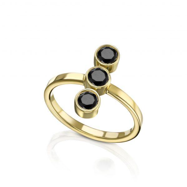 טבעת טריו יהלומים שחורים דגם 5365
