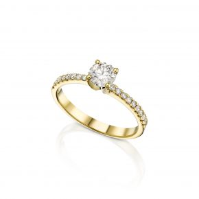 טבעת יהלומים זהב צהוב