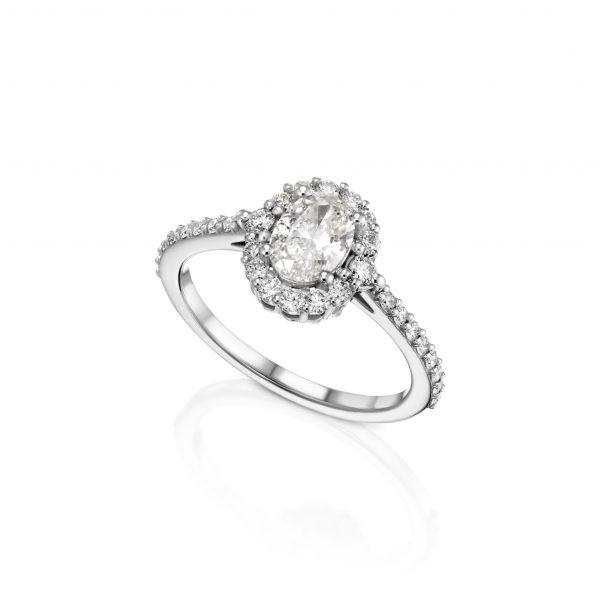 טבעת יהלומים אובל 1.45 קראט