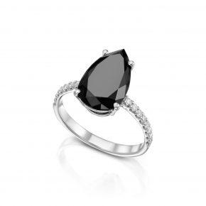 טבעת יהלום שחור טיפה.