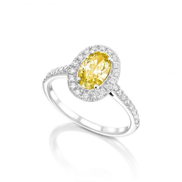 טבעת יהלום בליטוש אובל קולקציית FANCY