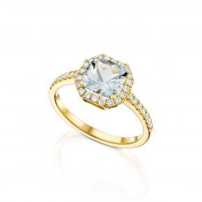 טבעת יהלום מעוטרת עם זהב מבורסת היהלומים