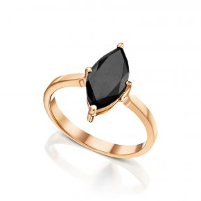 טבעת יהלום שחור מרקיזה רוז גולד
