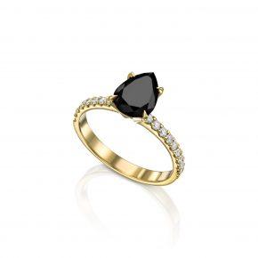 טבעת יהלום שחור טיפה