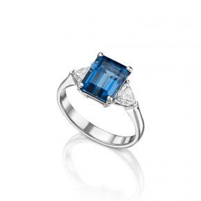 טבעת BTL בשיבוץ יהלומים בליטוש משולש