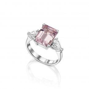 טבעת מורגנייט בשיבוץ טיפות יהלומים