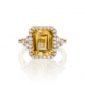 טבעת אבן חן ציטרין רוז גולד