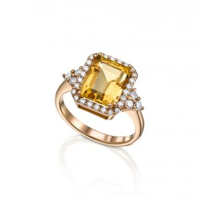 טבעת אבן חן ציטרין בשילוב יהלומים, רוז גולד